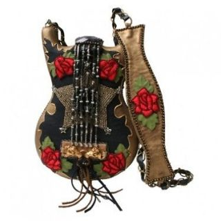 Mary Frances Rhinestone Cowgirl Bronze Red Guitar Horse Purse Handbag