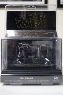 STAR WARS MASTER REPLICAS SCALED .33 HAN SOLO BLASTER   BLACK CHROME