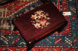 Exquisite Needlepoint Flower Rose Needlepoint Antique Vintage Foot