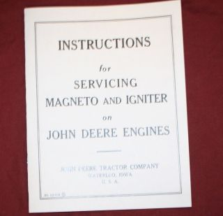 John Deere Type E Engine Motor Flywheel Magneto Hit Miss Repair Book
