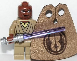 LEGO STAR WARS MACE WINDU MINI FIGURE JEDI MASTER & CUSTOM CAPE CLONE