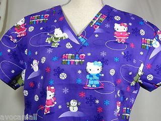 Top Hello Kitty Winter Sking Snowman Purple LARGE Medical Nursing