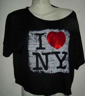 Ladies Crop Top Shirt black with License I Love NY patent