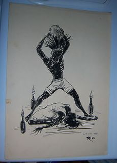 WOMAN BLACK AFRICAN VOODOO PRINT FROM BRAZIL SIGNED LEON ~~ RIO # 6