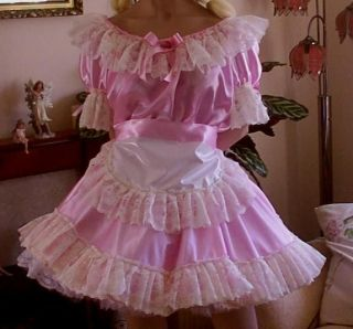 cd adult baby sissy pink maids satin dress