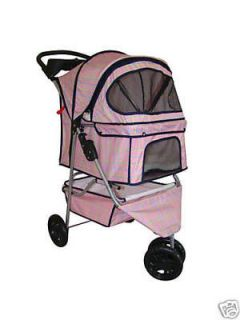 pink grid 3 wheels pet dog cat stroller w raincover