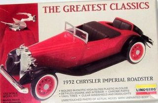 Lindberg 1932 Chrysler Imperial Roadster plastic model car kit 72401