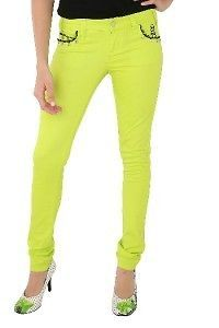 Jessica Louise Lime Green Skull Spike Sexy Sweet Rockin Skinny Jeans