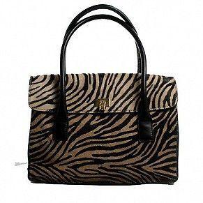 Lambertson Truex Camel Color, Black Pony Hair Satchel Zebra print