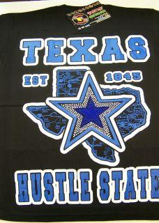 Texas Hustle State Star Black Shirt Blue Screen Printed Piranha