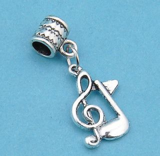Tibetan silver dangle charms pendant musical note beads fit European