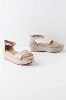 Anthropologie Potrero Flatforms Sandals Shoes Size 9.5, Silver, Gee