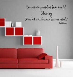 Bob Marley quote Lyrics Free our minds Wall Art Sticker Mural quote