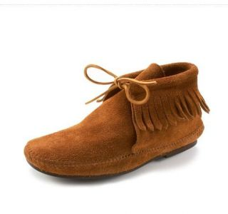 Genuine Minnetonka Suede Leather Classic Fringe Ankle Boots 682 NEW