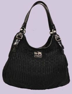 COACH MADISON SIGNATURE GATHERED MAGGIE HOBO BLACK BAG Msrp $468.00