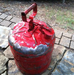OLD 5 GALLON GALVANIZED RED GAS CAN Gasoline Its Knarly Ugly And Cool