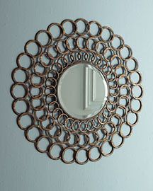 Sunburst Round ACCENT WALL MIRROR Looped Rings Metal NEW
