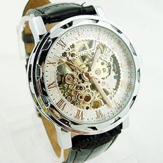Mens Gents Skeleton Watch Automatic Mechanical Black Leather Gift