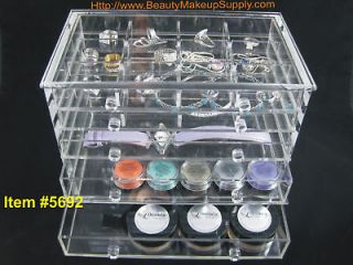 DELUXE ACRYLIC 5 DRAWER TABLE TOP ORGANIZER PULL DRAWERS #5692