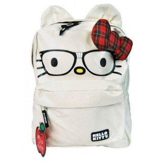 Loungefly Hello Kitty Nerd Bow School Backpack Beige NEW Officially