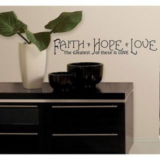 New Black FAITH HOPE LOVE WALL DECALS Room Quotes Stickers
