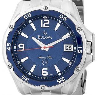 Bulova Mens 98B111 Marine Star Stainless Steel Bracelet Blue Dial