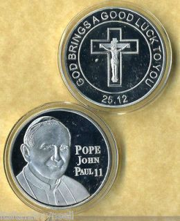 newly listed pope john paul ii silver coin good luck
