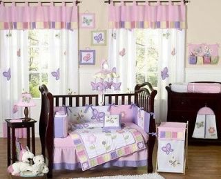 LUXURY PINK AND PURPLE BUTTERFLY 9pc BABY GIRL CRIB BEDDING SET ROOM