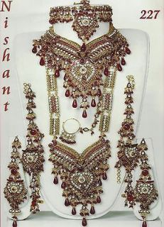 Maroon Golden Wedding Bridal 8pcs cz Kundan Diamantes Necklace Jewelry