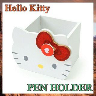 Hello Kitty Wood Pen Holder Desk Accessory Pencil Case Stationery