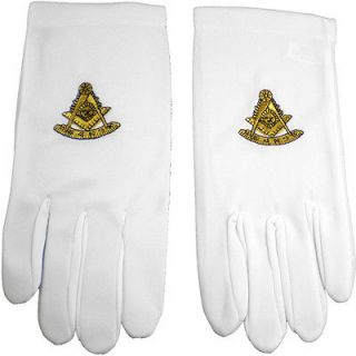 mason past master emblem embroidered mens ritual gloves