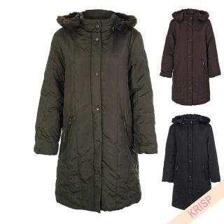 Women Ladies Long Puffer Puffa Padded Jacket Coat Parka Winter Warm