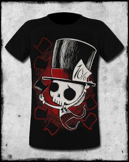 AKUMU INK MAD HATTER MENS BLACK RED SKULL HORROR GOTH EMO TATTOO TEE T
