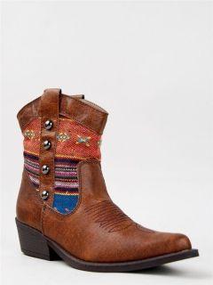 NEW MADDEN GIRL SLATERR Women Tribal Cowboy Western Heel Booty tan sz