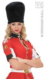 Black Plush Fury Royal Guard Hat Soldier Style Beefeater Fancy Dress