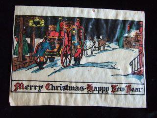 1930s ART DECO CHRISTMAS CARD Parchment VICTORIAN COACH & 4 Horses