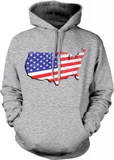 Distressed American Flag In USA Map Patriotic Pride Mens Hoodie
