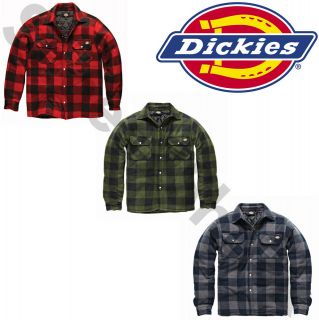 DICKIES PORTLAND PADDED WORK SHIRT SIZE S   XXL GREEN BLACK RED MENS