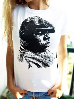 NOTORIOUS BIG T SHIRT womens girls top hip hop era clothing retro look