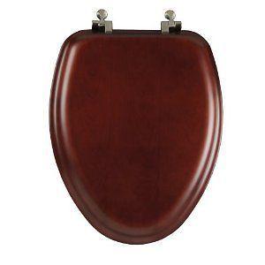 Natural Wood Bath Bathroom Toilet Seat w/ Brushed Nickel Hinges