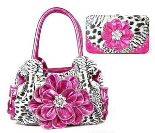 Pink Zebra Leopard Flower Rhinestone Fashion Handbag Purse Tote Wallet
