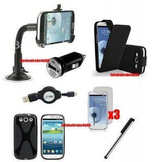 9pcs Film USB Charger Cable Case Car Mount Kit Set Samsung Galaxy S3 S
