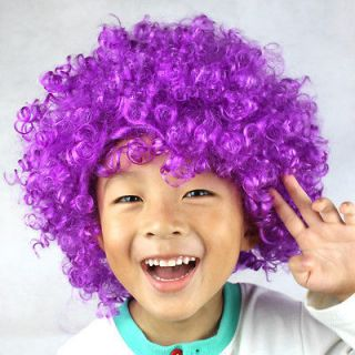 Party Rainbow Afro Clown Child Adult Cosplay Wig Hair Purple