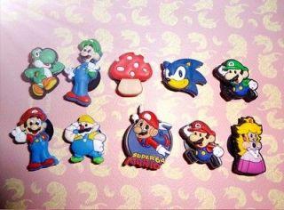 Super Mario Bros Shoe Charm 10pcs Jibbitz Princess Luigi Sonic