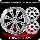 CHROME PERFORMANCE MACHINE RIVIERA WHEELS, TIRES, ROTORS HARLEY FLH