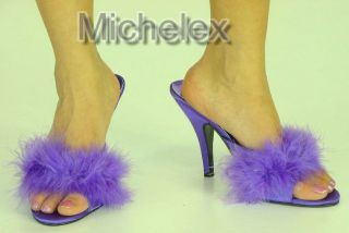 Purple High Heel Satin Maribou Feather Slippers Mule Transvestite UK