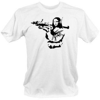 MONA LISA Banksy style COOL t shirt 2XL street graffiti gun weapons
