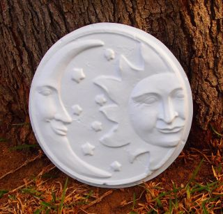 New Sun Moon Wall Plaque Mold Plastic Plaster Cement Concrete Garden