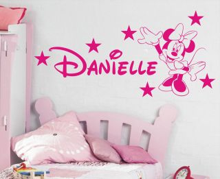 minnie mouse personalised girls bedroom wall sticker kit loads of