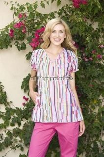 NEW KOI BRIDGETTE RAINBOW NURSING MEDICAL UNIFORM SCRUB TOP S XL 2XL